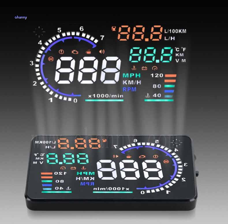 5.5'' A8 HUD Car HUD Auto Head Up Display LCD Digital Windscreen Projector Vehicle OBD II Interface Overspeed Alarm System